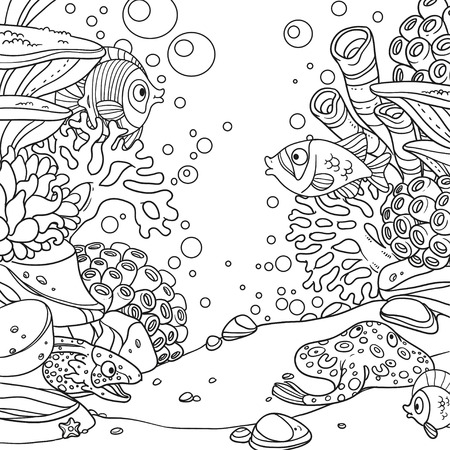 Underwater world with corals, anemones, moray eels and ramp outlined on white background