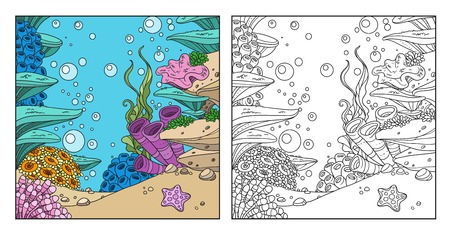 Underwater world with corals, seaweed, anemones coloring page on white background