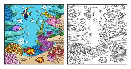 Onderwaterwereld met koralen, zeewier, anemonen en vissen kleurende pagina op witte achtergrond