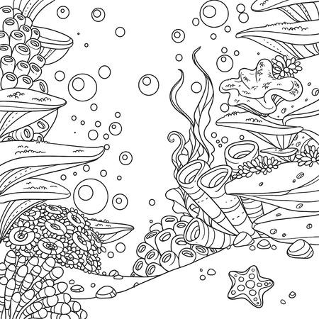 산호, 해 초, 말미잘에 격리 된 흰색 배경에 설명 된 수 중 세계