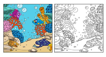 moray: Underwater world with corals, anemones, moray eels and ramp coloring page on white background