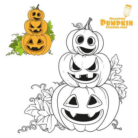Three lantern from pumpkins with the cut out of a grin stand one on another color and outlined for coloring page Фото со стока - 84953595