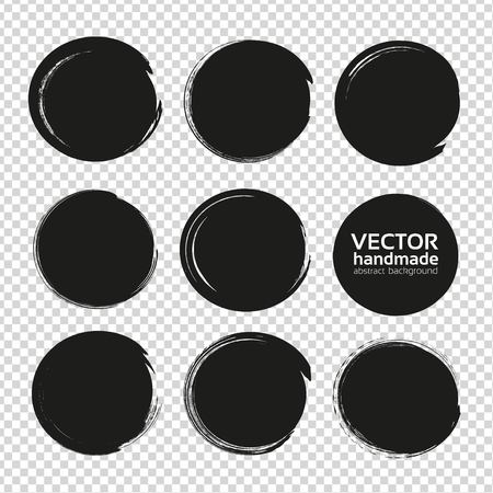 Big set of circles frames from thick black textured paint smears isolated on imitation transparent background
