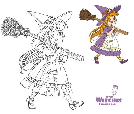 Cute girl in witch suit goes forward holding a broom for flights on her shoulder color and outlined for coloring page