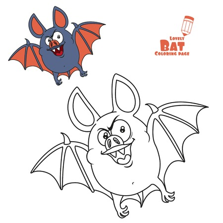 Cute fat Halloween bat flying color and outlined for coloring page