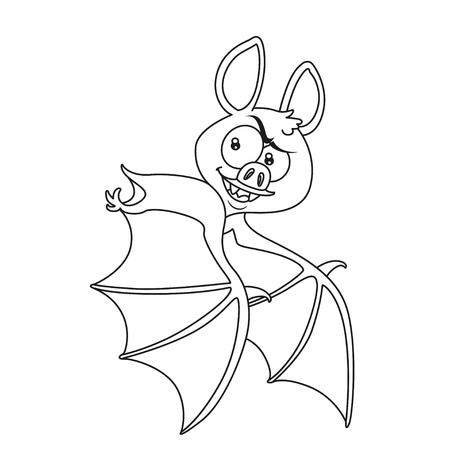 Cute Halloween bat flying outlined for coloring page Illustration