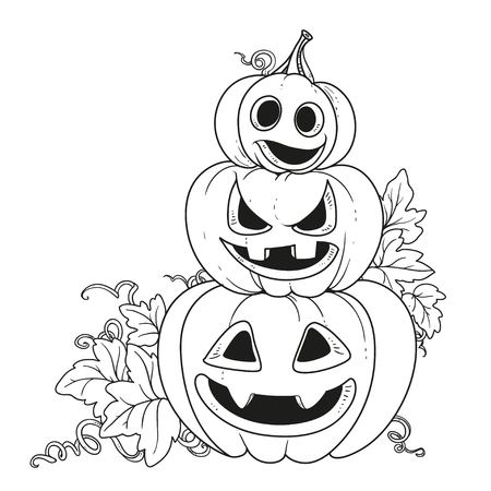 Three lantern from pumpkins with the cut out of a grin stand one on another outlined for coloring page