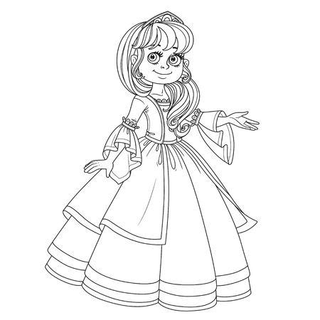 Cute princesse adolescente en robe luxuriante et tiare montre loin d'elle-même image esquissée pour un livre à colorier sur fond blanc Banque d'images - 84953627