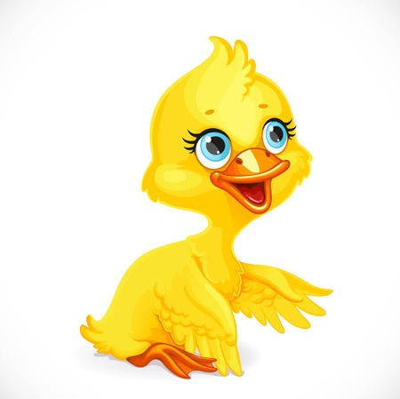 Cute yellow duckling sit on floor isolated on white background Illusztráció