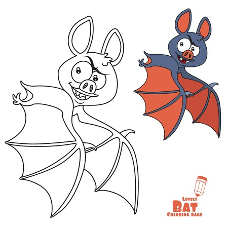 Cute Halloween bat flying color and outlined for coloring page Illustration