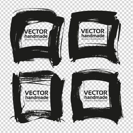 Square frames from black abstract textured smears isolated on imitation transparent background Illustration