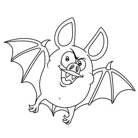 Lindo Gordo De Halloween De Murciélago Volando Color Y Contorneado ...