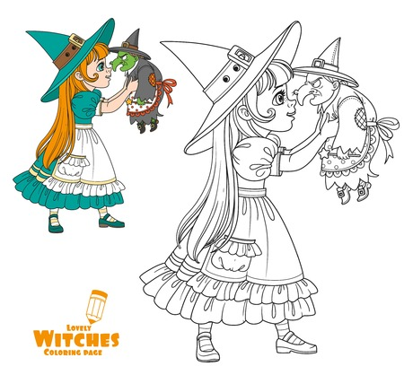 Cute girl in witch costume holding a doll old witch color and outlined for coloring page
