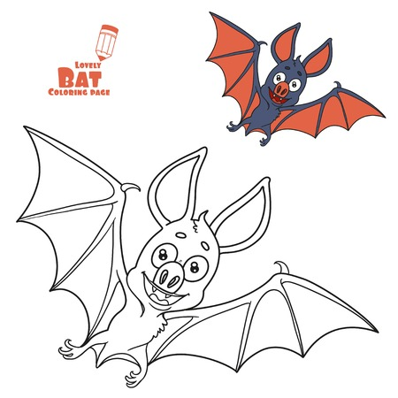 Cute Halloween bat color and outlined for coloring page Фото со стока - 84954028
