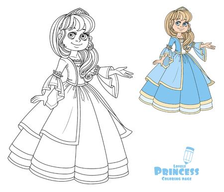 Cute princess teen in lush dress and tiara shows away from herself color and outlined picture for coloring book on white background