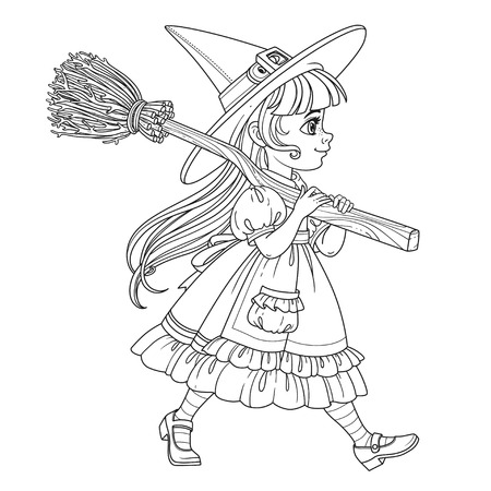 Cute girl in witch suit goes forward holding a broom for flights on her shoulder outlined for coloring page