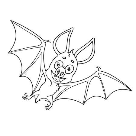 Lindo Murciélago Gordo De Halloween Volando Delineado Para Colorear ...