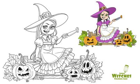 Cute girl in witch costume sitting on the fence with a knife and cut the lantern from a pumpkin color and outlined for coloring page