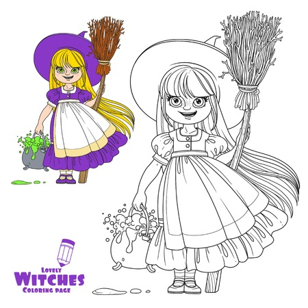 Sweet girl in witch costume holds a broom for flying and pot of bubbling potions color and outlined for coloring page Illustration