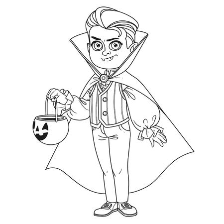 Cute boy in vampire costume with a pumpkin bag for sweets trick or treat outlined for coloring page