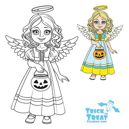 Cute girl in angel costume holding a pumpkin bag for sweets  trick or treat color and outlined for coloring page