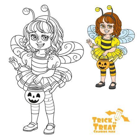 과자 호박 가방을 들고 꿀벌 의상에서 귀여운 소녀 트릭이나 색상을 치료하고 페이지를 색칠하기위한 설명