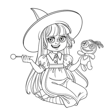 cute girl in witch costume sitting on the floor and plays with a voodoo doll and - Witch Pictures To Color