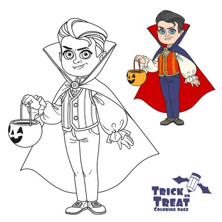 Cute boy in vampire costume with a pumpkin bag for sweets trick or treat color and outlined for coloring page