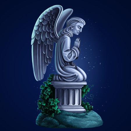 Tombstone kneeling angel raster draw on blue night background Stock Photo