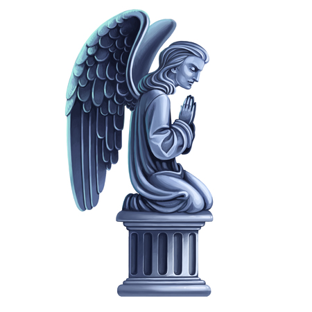 Tombstone kneeling angel raster draw isolated on white background