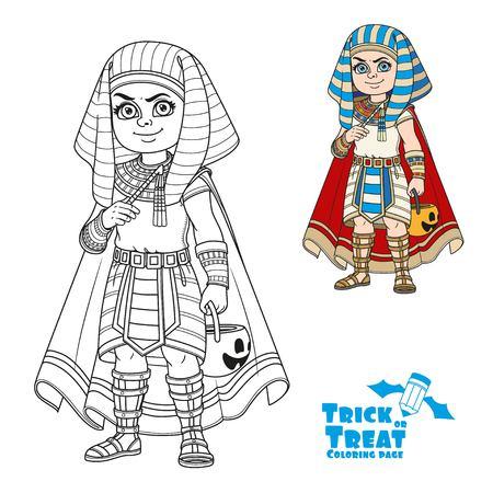 De leuke jongen in Egyptisch Faraokostuum met een pompoenzak voor snoepjes bedriegt of behandelt kleur en geschetst voor het kleuren van pagina Stock Illustratie