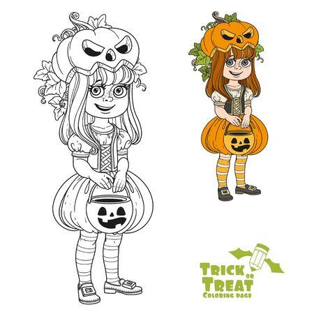 과자 호박 가방을 가진 호박 의상을 입은 귀여운 소녀가 간계하거나 색을 치료하고 페이지를 색칠하기위한 설명