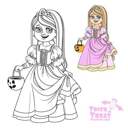 Süßes Mädchen in Prinzessin Kostüm hält eine Kürbis Tasche für Süßigkeiten Süßes oder Saures Farbe und umrissen für Malvorlagen Standard-Bild - 85315917