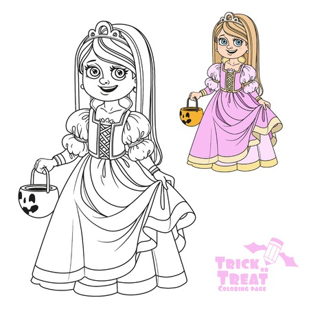 Cute girl in princess costume holding a pumpkin bag for sweets  trick or treat color and outlined for coloring page Illustration
