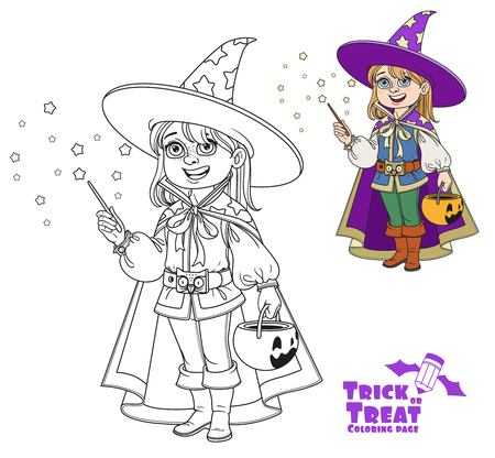 Cute boy in Magician costume with a pumpkin bag for sweets trick or treat color and outlined for coloring page