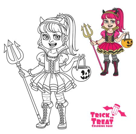 Cute girl in succubus costume with a pumpkin bag for sweets trick or treat color and outlined for coloring page