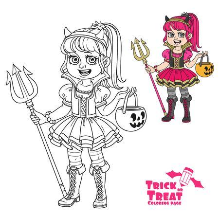 Süßes Mädchen in Sukkubus Kostüm mit einer Kürbis Tasche für Süßigkeiten Süßes oder Saures Farbe und umrissen für Malvorlagen Standard-Bild - 85315916