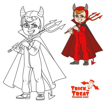Chico lindo disfraz de mono de diablo con un tridente en su mano truco o trato de color y delineado para colorear página