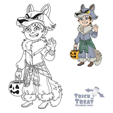 scaring: Cute boy in werewolf costume with a pumpkin bag for sweets trick or treat color and outlined for coloring page