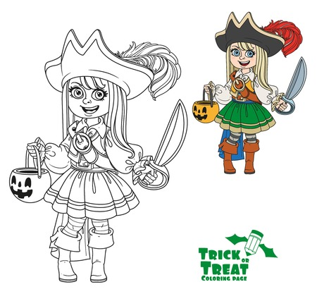 Cute girl in pirate costume with a pumpkin bag for sweets trick or treat color and outlined for coloring page