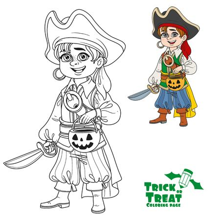 Cute boy in pirate costume with a pumpkin bag for sweets trick or treat color and outlined for coloring page