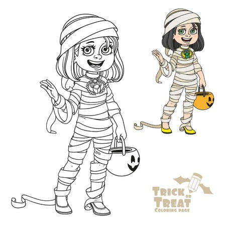Cute girl in mummy costume with a pumpkin bag for sweets trick or treat color and outlined for coloring page
