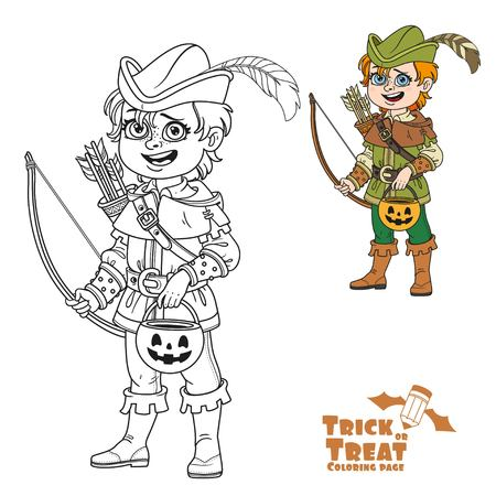 Cute boy in Robin Hood costume with a pumpkin bag for sweets trick or treat color and outlined for coloring page