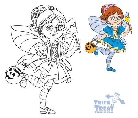 Cute niña en traje de hadas sosteniendo un bolso de calabaza para los dulces truco o tratar de color y se esbozan para colorear Foto de archivo - 85315927