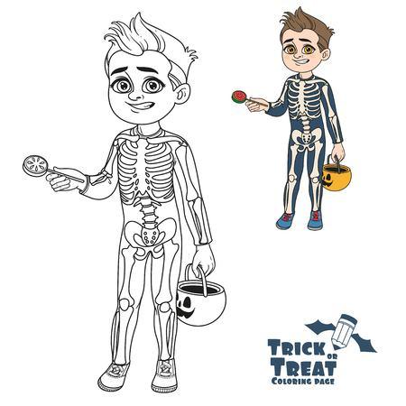 귀여운 소년 과자 호박 가방과 골격 의상 트릭이나 치료 및 색칠 페이지에 대한 설명