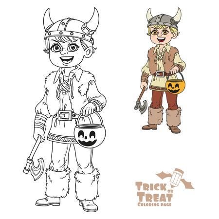Cute boy in viking costume with a pumpkin bag for sweets trick or treat color and outlined for coloring page Illustration