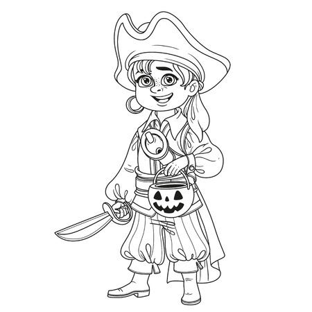Cute boy in pirate costume with a pumpkin bag for sweets trick or treat outlined for coloring page Фото со стока - 85428035
