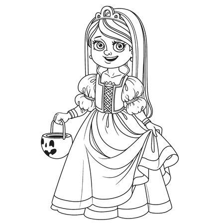 袋を保持かぼちゃお菓子をトリックまたは扱うページを着色の輪郭を描かれたプリンセスの衣装でかわいい女の子