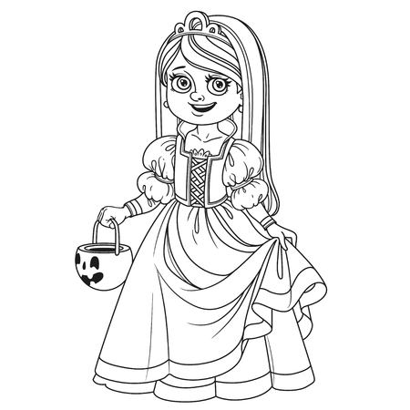 Cute girl in princess costume holding a pumpkin bag for sweets  trick or treat outlined for coloring page