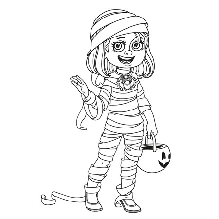 Cute girl in mummy costume with a pumpkin bag for sweets trick or treat outlined for coloring page